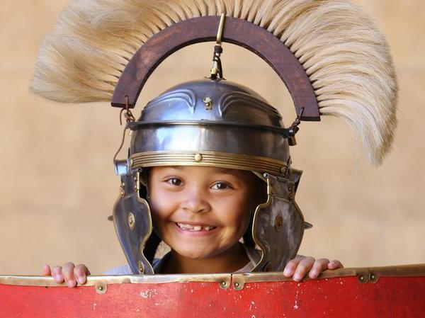 Image: Girl dressed up as a Roman soldier